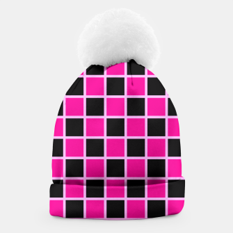 Thumbnail image of Black and pink Checkerboard Beanie, Live Heroes