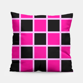 Thumbnail image of Black and pink Checkerboard Pillow, Live Heroes