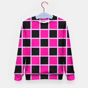 Thumbnail image of Black and pink Checkerboard Kid's Sweater, Live Heroes