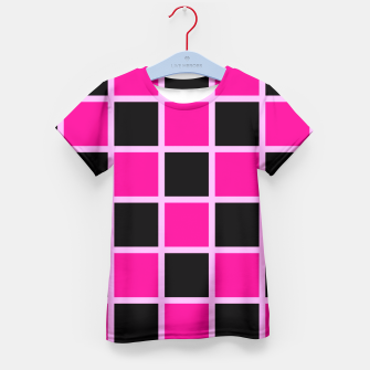 Thumbnail image of Black and pink Checkerboard Kid's T-shirt, Live Heroes