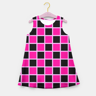 Thumbnail image of Black and pink Checkerboard Girl's Summer Dress, Live Heroes