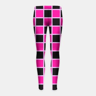 Thumbnail image of Black and pink Checkerboard Girl's Leggings, Live Heroes