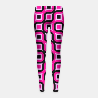 Thumbnail image of pink and black geometric abstract Girl's Leggings, Live Heroes