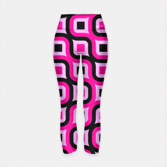 Thumbnail image of pink and black geometric abstract Yoga Pants, Live Heroes