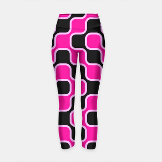 Thumbnail image of Black and pink  geometric abstract Yoga Pants, Live Heroes