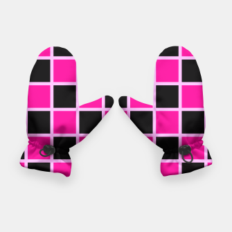 Thumbnail image of Black and pink Checkerboard Gloves, Live Heroes