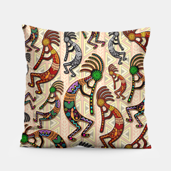 Thumbnail image of Kokopelli Tribal Pattern  Pillow, Live Heroes