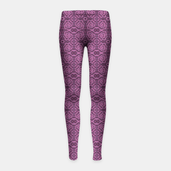 """Thumbnail image of """"Pink helices"""" pattern in pink & purple Girl's Leggings, Live Heroes"""