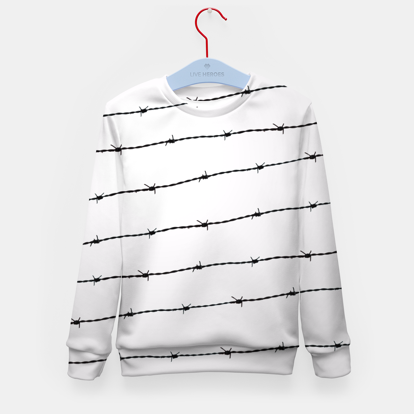 Cool gray white and black barbed wire pattern Kid\'s Sweater, Live Heroes