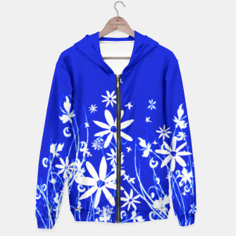 Miniatur Blue with White Flowers Painting  Hoodie, Live Heroes