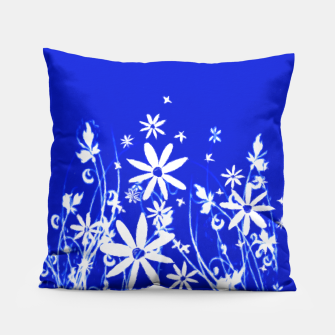 Miniatur Blue with White Flowers Painting  Pillow, Live Heroes