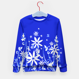 Miniatur Blue with White Flowers Painting  Kid's Sweater, Live Heroes