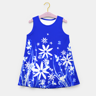 Miniatur Blue with White Flowers Painting  Girl's Summer Dress, Live Heroes