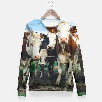Miniatur Group Of Cows Fitted Waist Sweater, Live Heroes