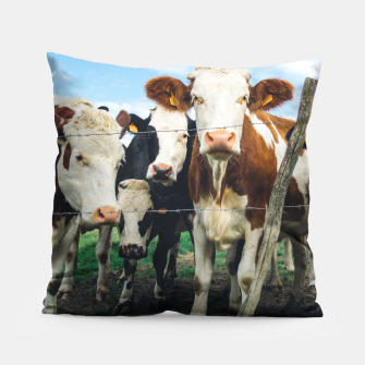 Miniatur Group Of Cows Pillow, Live Heroes