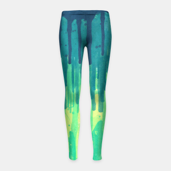 Miniatur Green Grunge Color Splatter Graffiti Backstreet Wall Background  Girl's Leggings, Live Heroes