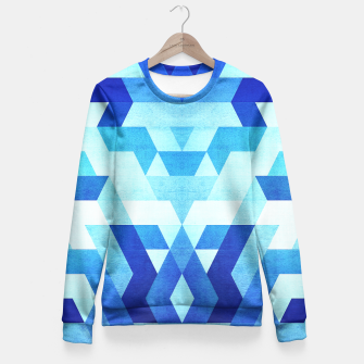 Miniature de image de DesignAbstract Symertric geometric triangle texture pattern design in ice blue  Fitted Waist Sweater, Live Heroes
