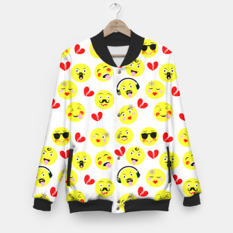 Thumbnail image of Fun Emoji Guys Fashion Trend Baseball Jacket, Live Heroes