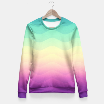 Miniature de image de Abstract Geometric  Candy / Rainbow Waves Pattern (Multi Color) Fitted Waist Sweater, Live Heroes