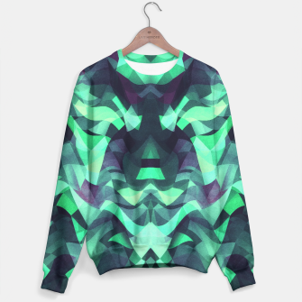 Miniature de image de Abstract Surreal Chaos theory in Modern poison turquoise green Sweater, Live Heroes