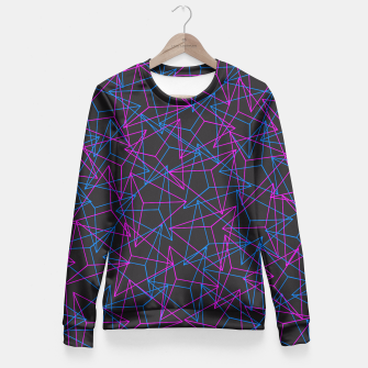 Miniature de image de Abstract Geometric 3D Triangle Pattern in Blue / Pink Fitted Waist Sweater, Live Heroes