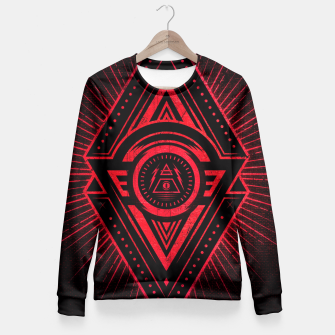 Miniature de image de The Eye of Providence is watching you! (Diabolic red Freemason / Illuminati symbolic) Fitted Waist Sweater, Live Heroes