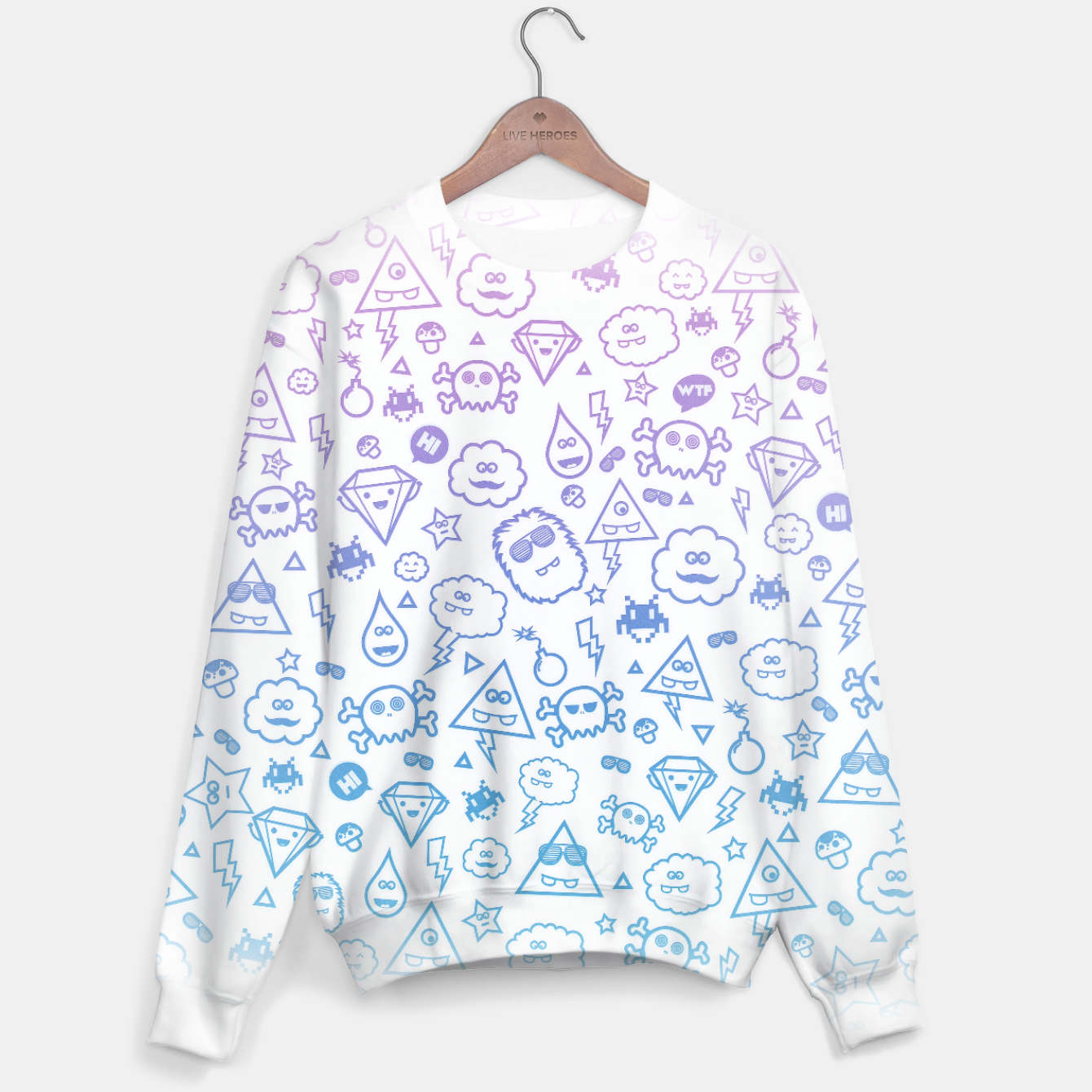 Image de Crazy and Cute Monster Patter in blue pink Sweater - Live Heroes
