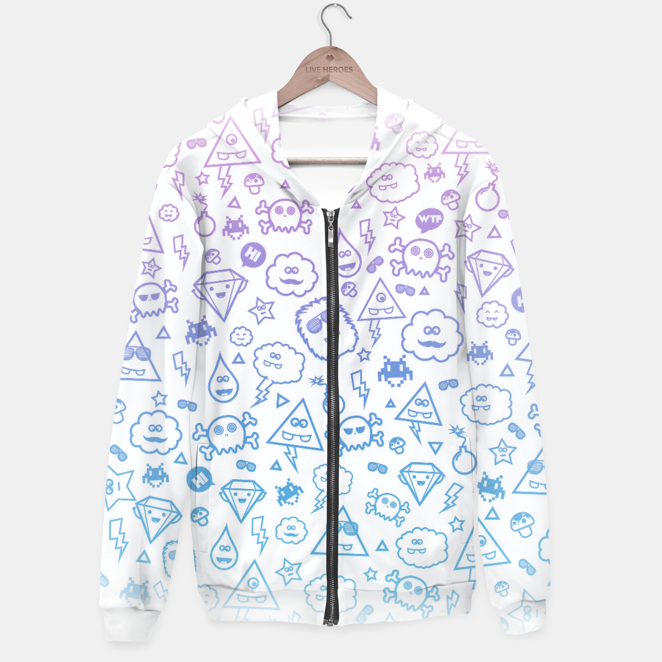 Image de Crazy and Cute Monster Patter in blue pink Hoodie - Live Heroes