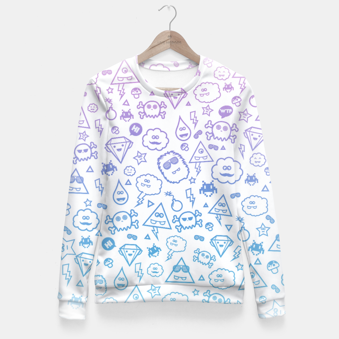 Image de Crazy and Cute Monster Patter in blue pink Fitted Waist Sweater - Live Heroes
