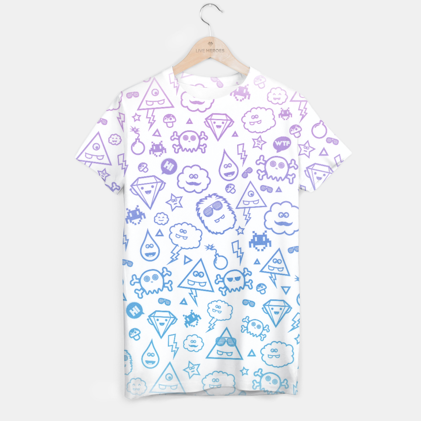 Image de Crazy and Cute Monster Patter in blue pink T-shirt - Live Heroes