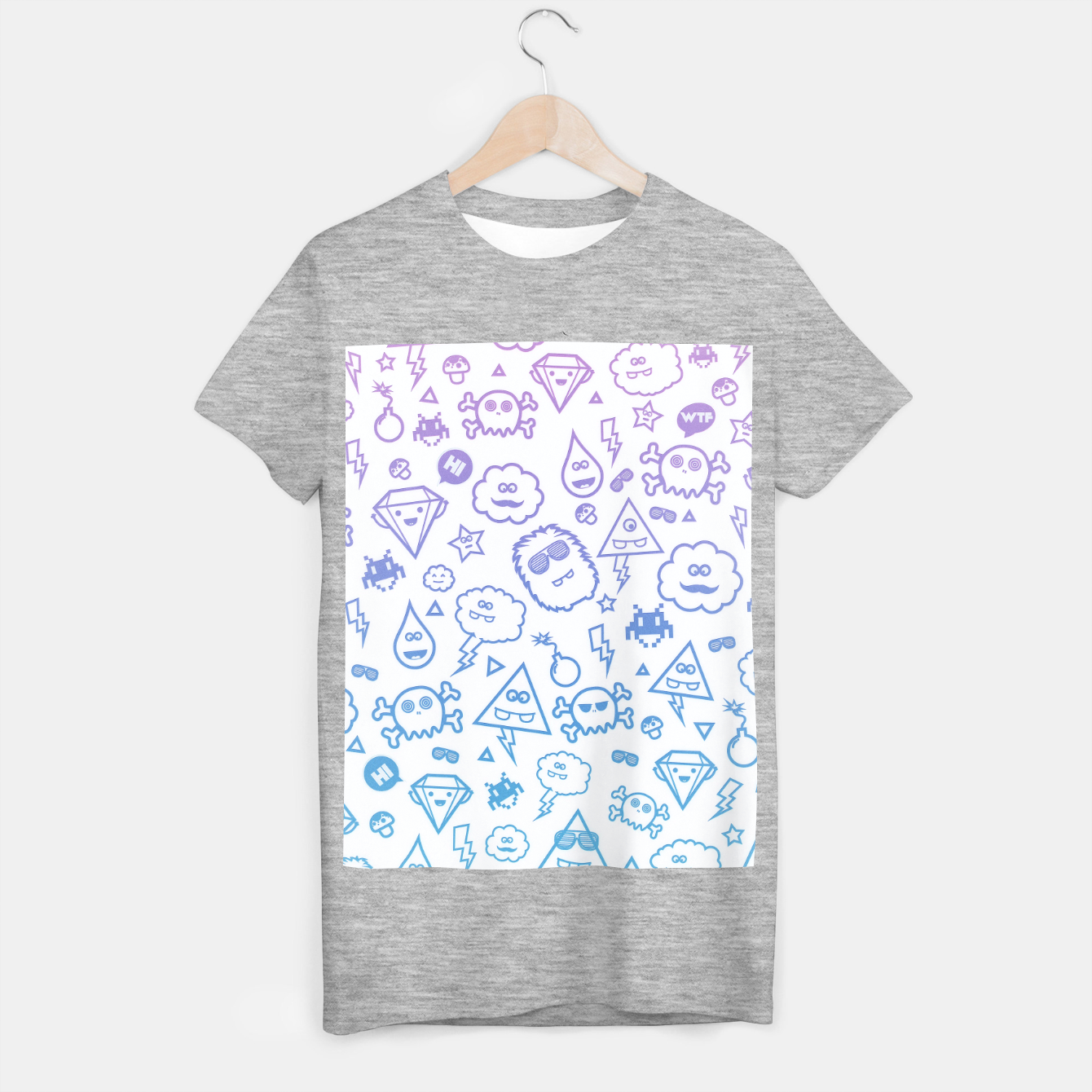 Image de Crazy and Cute Monster Patter in blue pink T-shirt regular - Live Heroes
