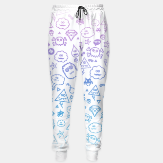Crazy and Cute Monster Patter in blue pink Sweatpants miniature