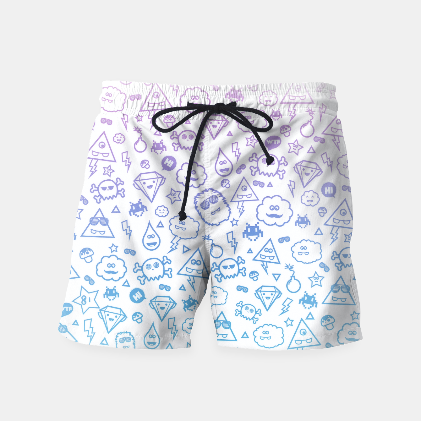 Image de Crazy and Cute Monster Patter in blue pink Swim Shorts - Live Heroes