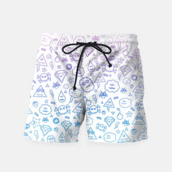 Crazy and Cute Monster Patter in blue pink Swim Shorts miniature