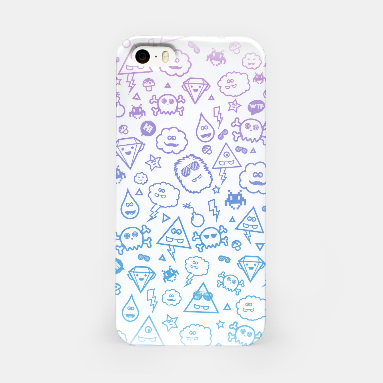 Image de Crazy and Cute Monster Patter in blue pink iPhone Case - Live Heroes