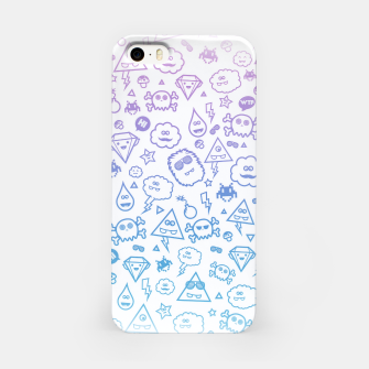 Crazy and Cute Monster Patter in blue pink iPhone Case miniature