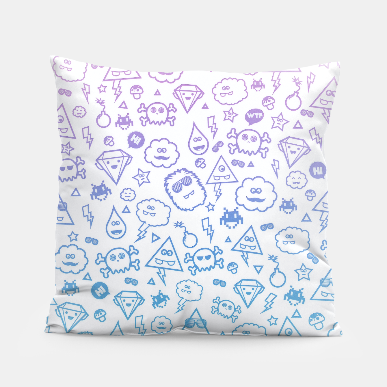 Image de Crazy and Cute Monster Patter in blue pink Pillow - Live Heroes
