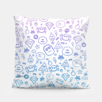 Crazy and Cute Monster Patter in blue pink Pillow miniature