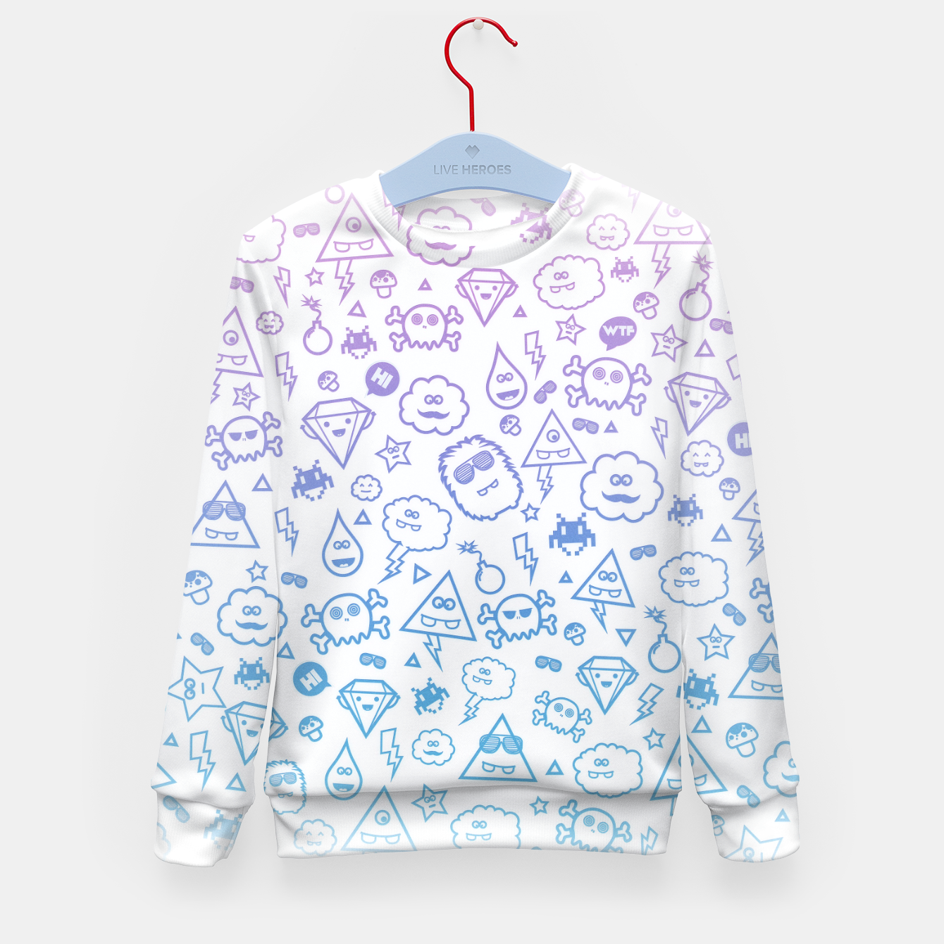 Image de Crazy and Cute Monster Patter in blue pink Kid's Sweater - Live Heroes