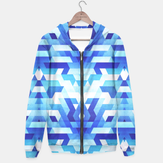 Miniaturka Abstract geometric triangle pattern (futuristic future symmetry) in ice blue Hoodie, Live Heroes