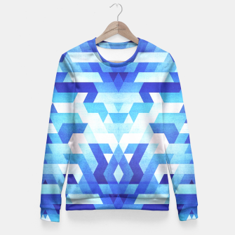 Miniature de image de Abstract geometric triangle pattern (futuristic future symmetry) in ice blue Fitted Waist Sweater, Live Heroes