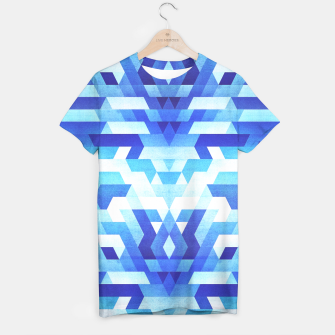 Miniaturka Abstract geometric triangle pattern (futuristic future symmetry) in ice blue T-shirt, Live Heroes
