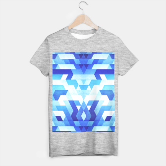 Miniaturka Abstract geometric triangle pattern (futuristic future symmetry) in ice blue T-shirt regular, Live Heroes