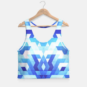 Miniaturka Abstract geometric triangle pattern (futuristic future symmetry) in ice blue Crop Top, Live Heroes