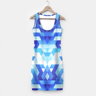 Miniaturka Abstract geometric triangle pattern (futuristic future symmetry) in ice blue Simple Dress, Live Heroes