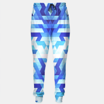 Miniaturka Abstract geometric triangle pattern (futuristic future symmetry) in ice blue Sweatpants, Live Heroes