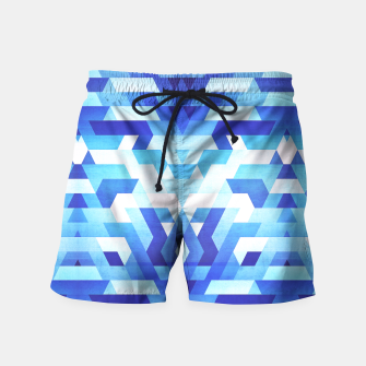 Miniature de image de Abstract geometric triangle pattern (futuristic future symmetry) in ice blue Swim Shorts, Live Heroes