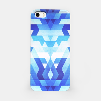 Miniature de image de Abstract geometric triangle pattern (futuristic future symmetry) in ice blue iPhone Case, Live Heroes