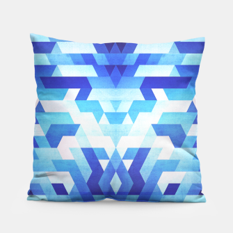 Miniaturka Abstract geometric triangle pattern (futuristic future symmetry) in ice blue Pillow, Live Heroes