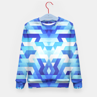 Miniature de image de Abstract geometric triangle pattern (futuristic future symmetry) in ice blue Kid's Sweater, Live Heroes